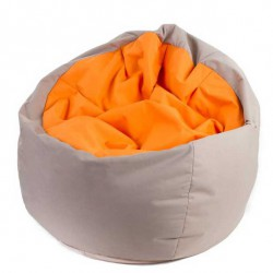 Pouf poire orange gris