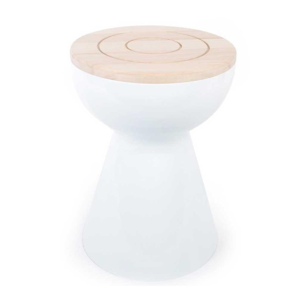 Tabouret-table blanc bois XL Boom