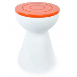 Tabouret vintage orange et blanc
