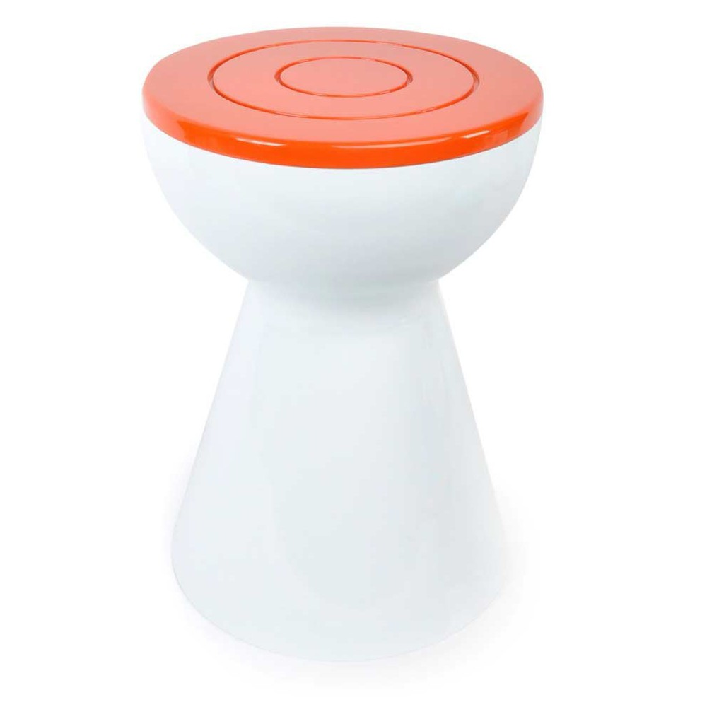 Tabouret vintage orange et blanc