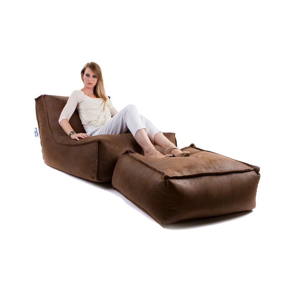 Pouf marron avec repose pieds