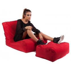 Pouf rouge repose pieds