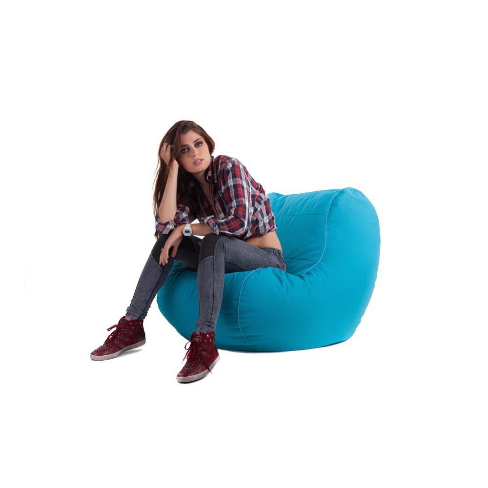 Pouf fauteuil bleu