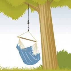 accrochage chaise-hamac arbre