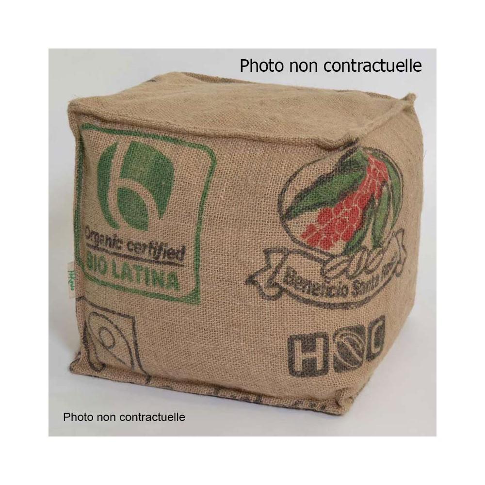 Pouf cube toile jute recyclée