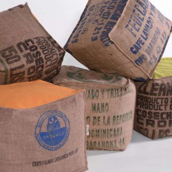 Pouf sac café recyclé
