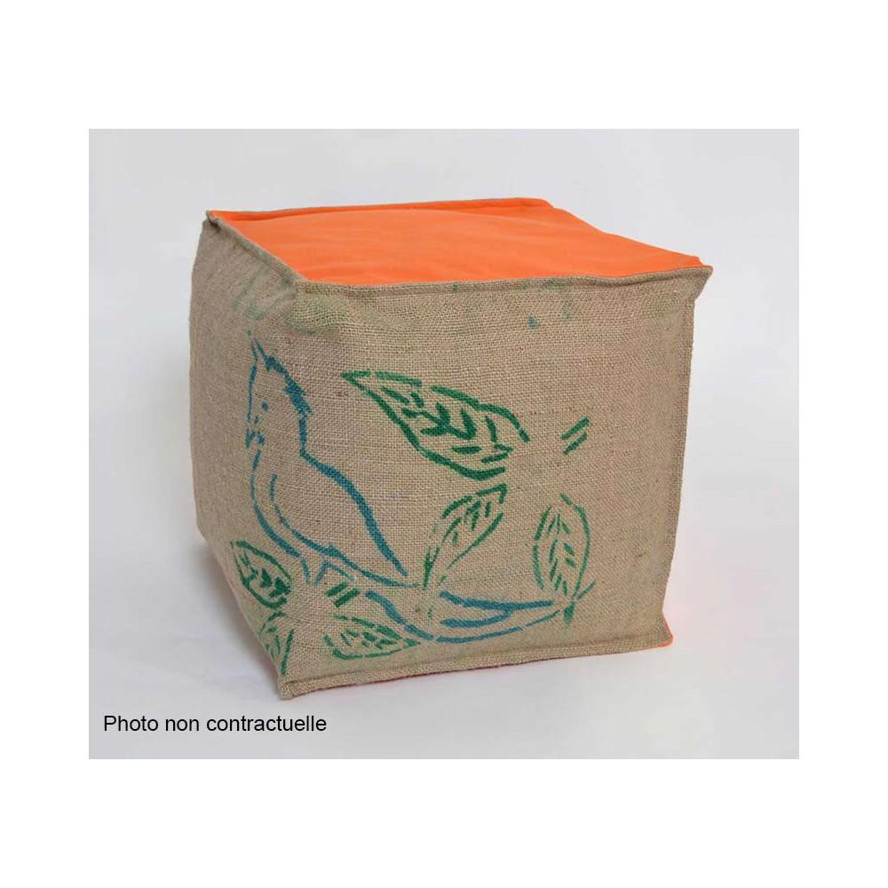 Pouf cube sac recyclé orange