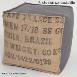 Pouf cube jute et coton gris