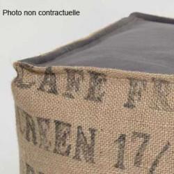 Pouf sac café recyclé et coton gris