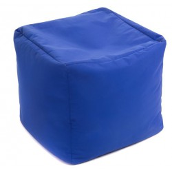 Pouf cube bleu