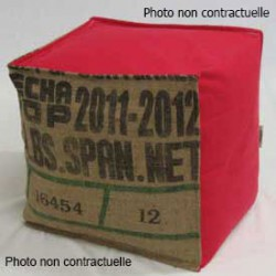 Pouf cube sac recyclé et coton rouge