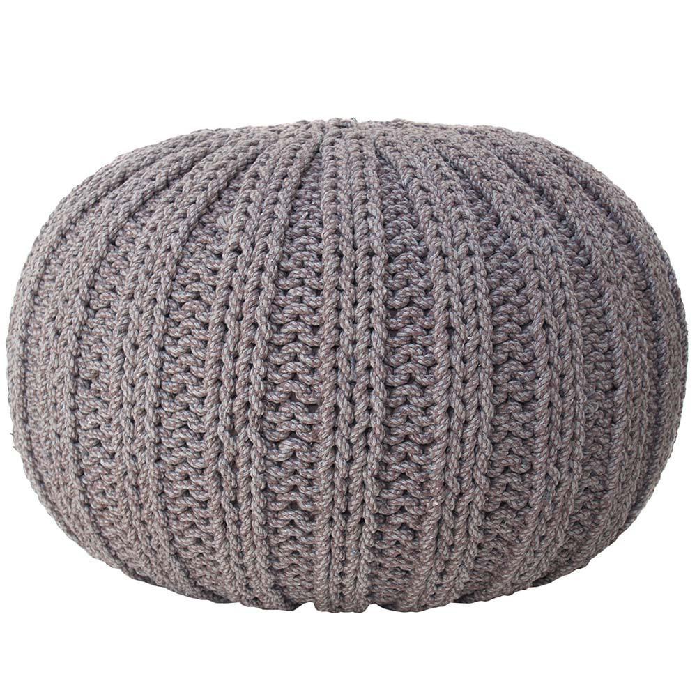 Grand pouf tricot gris