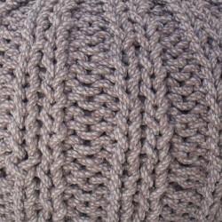 Grand pouf tricot gris coton