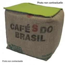 Pouf cube lin et coton vert anis