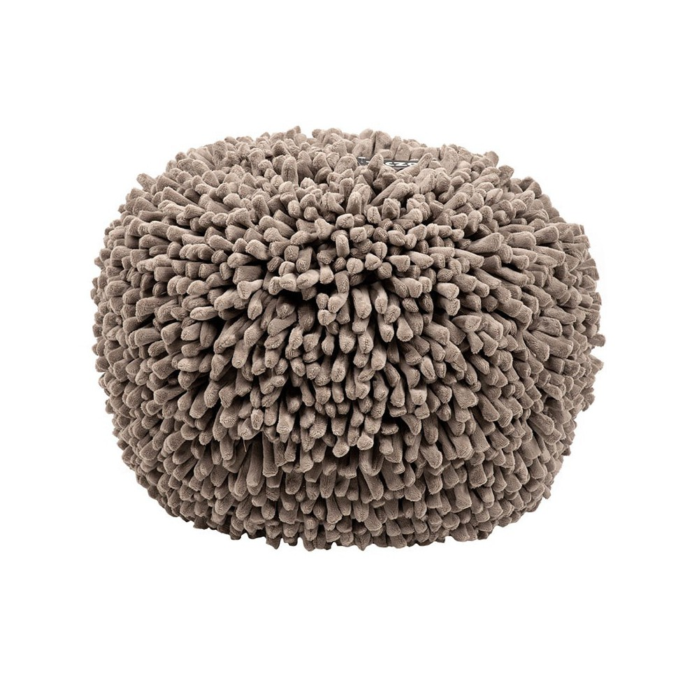Pouf rond taupe polaire