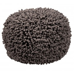 Pouf gris rond microfibre