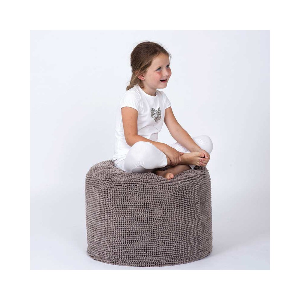 Pouf rond taupe Tiseco