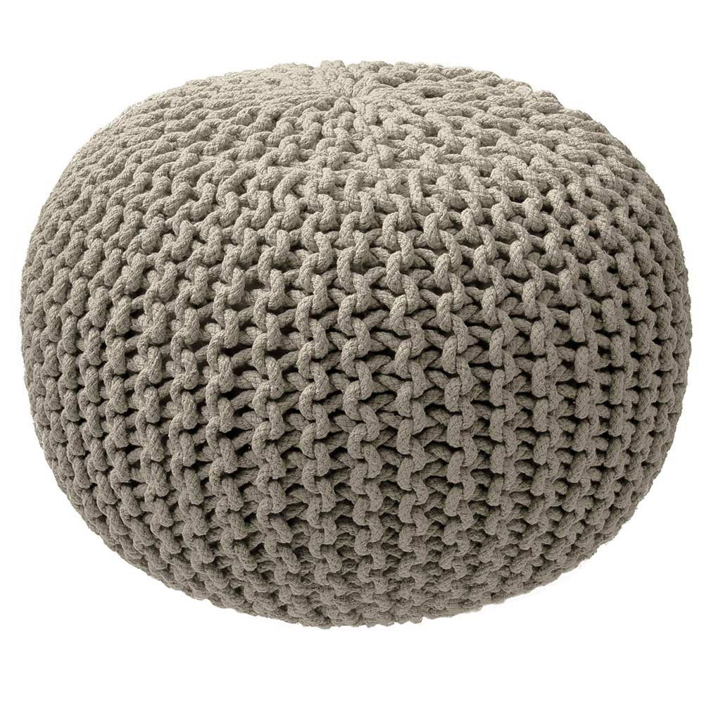 Pouf tricot taupe