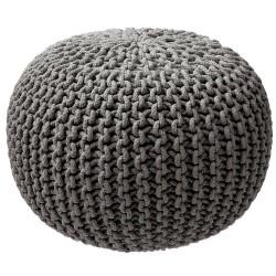 Pouf tricot gris