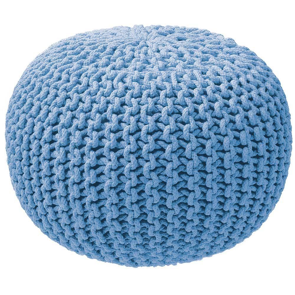 Pouf rond tricot bleu