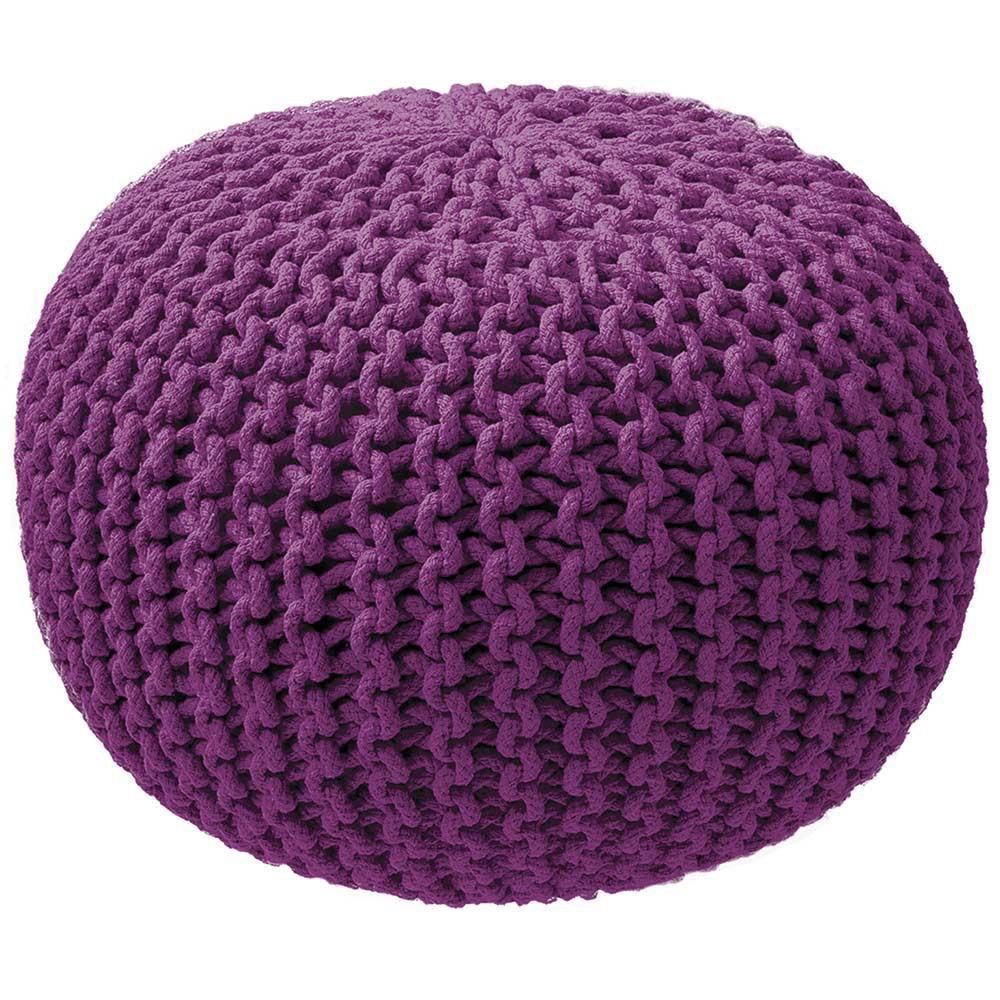 Pouf tricot violet