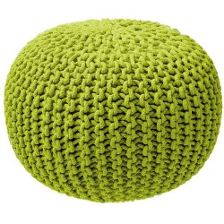 Pouf tricot rond vert