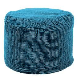 Pouf rond bleu tiseco