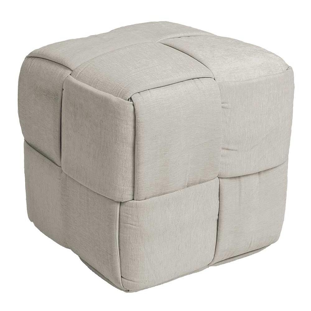 Pouf carré coton gris Zic Zac