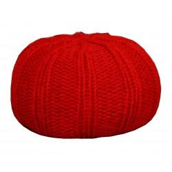 Pouf tricot rouge