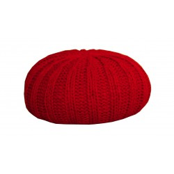 Grand pouf tricot rouge
