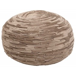 Pouf rond taupe doux
