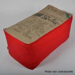 Banquette pouf toile de jute et coton rouge