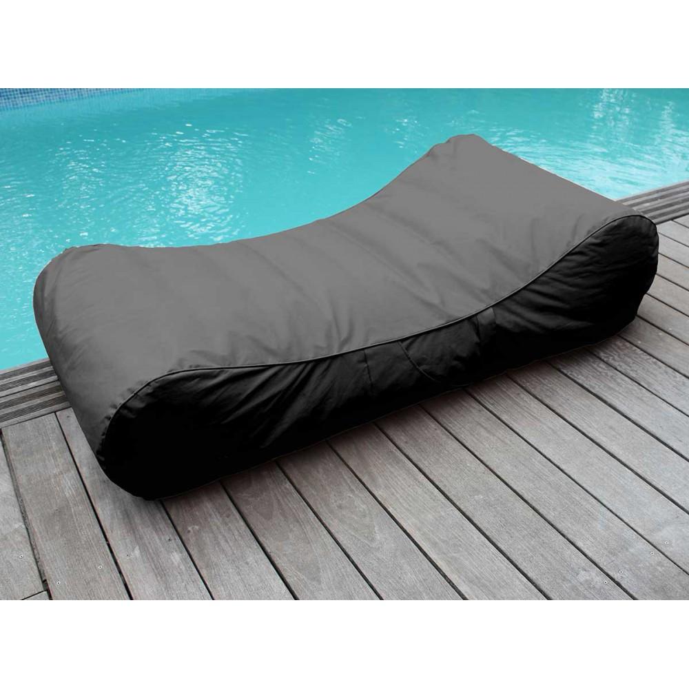Chaise longue piscine gris foncé