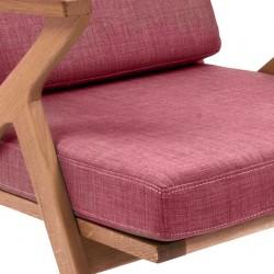 Fauteuil bois et tissu rose