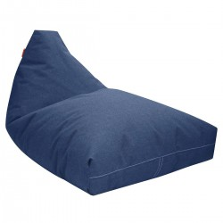 Pouf bleu jean allongé