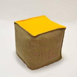 Pouf jaune naturel