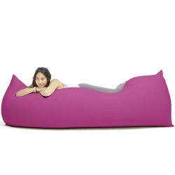 Grand pouf moelleux rose