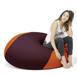 Pouf boule orange et violet