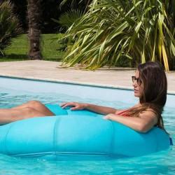 Pouf piscine rond bleu