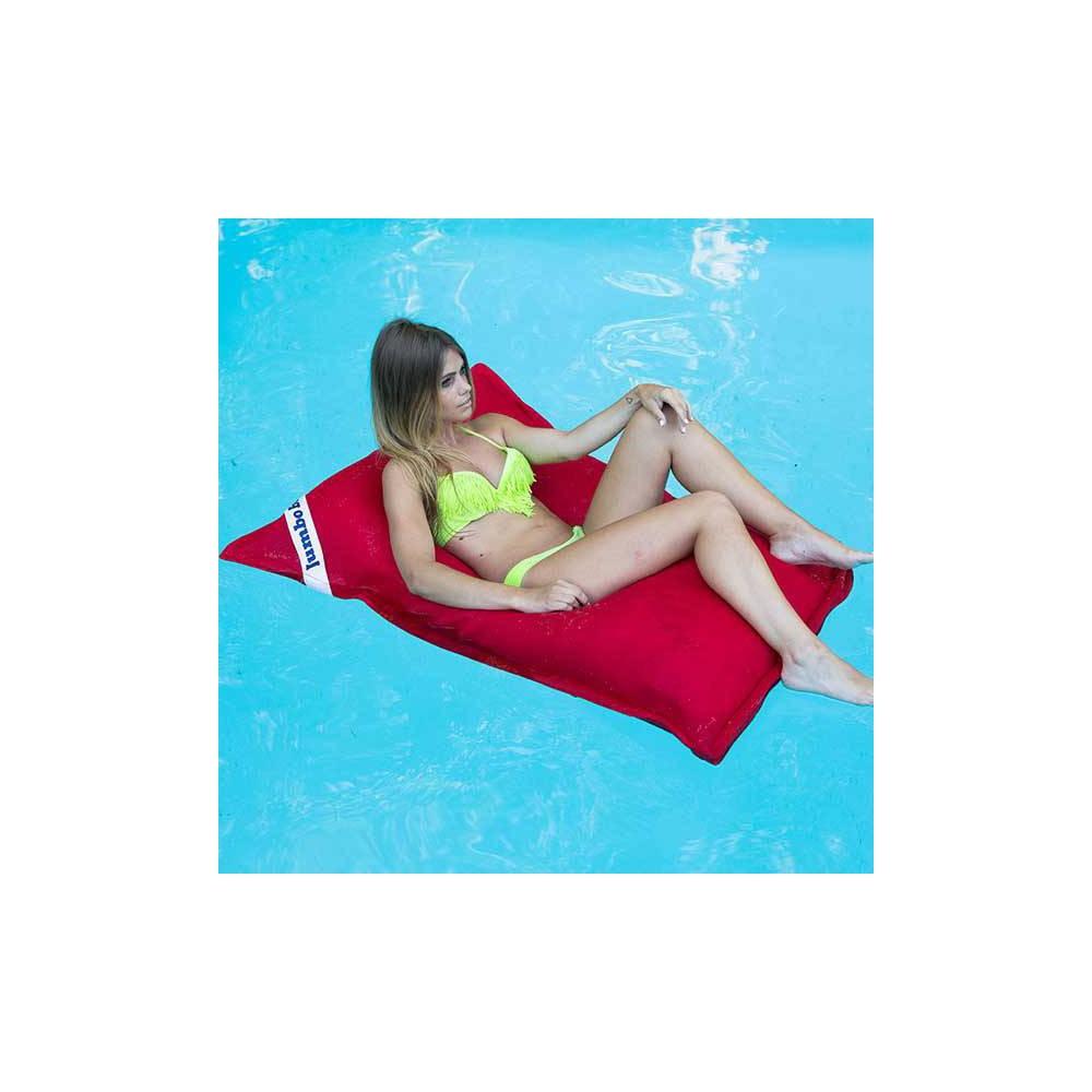 pouf piscine rouge carré