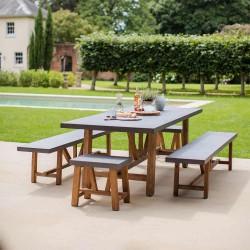 Ensemble table de jardin avec 2 bancs et 2 tabourets
