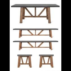 set table extérieure et 2 bancs et 2 tabourets
