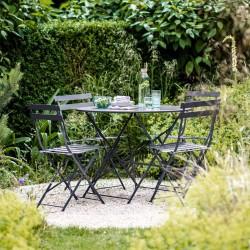 table et chaises outdoor en métal gris