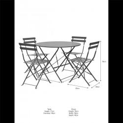 Table et 4 chaises extérieurs pliantes en métal gris