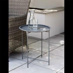 Petite table basse ronde en acier anthracite