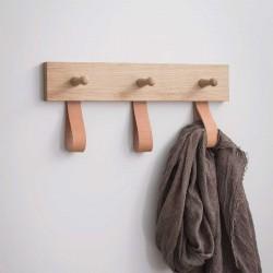 3 patères en chêne et boucles en cuirs