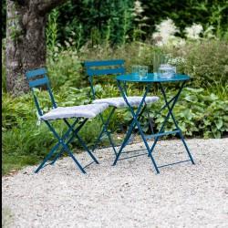 Table et 2 chaises bleues en métal