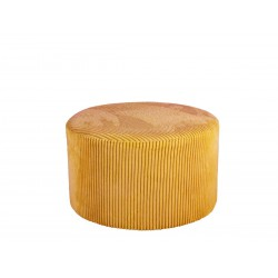 Pouf en velours jaune curry...