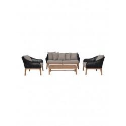 Salon d'extérieur avec canapé, 2 fauteuils et 1 table