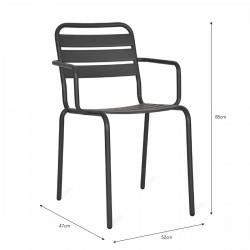 chaise jardin grise avec bras